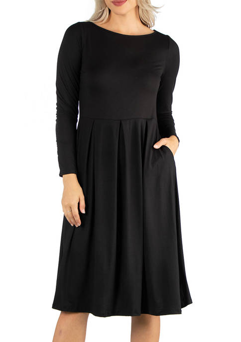 24seven Comfort Apparel Womens Midi Length Fit-and-Flare Pocket