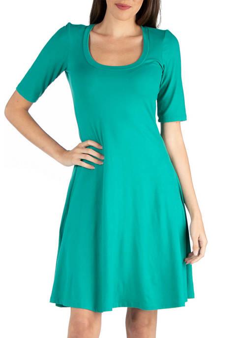 24seven Comfort Apparel Womens A-Line Knee Length Dress