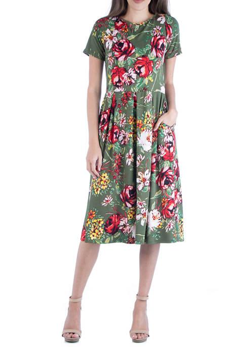 24seven Comfort Apparel Womens Floral Short Sleeve Midi