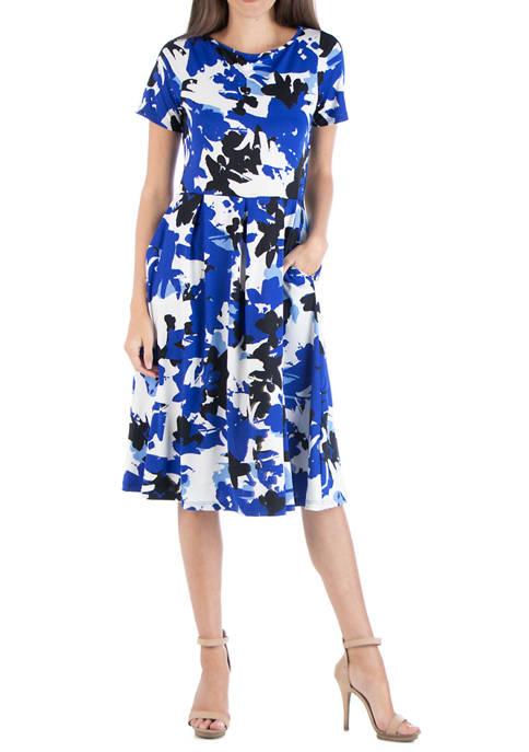 24seven Comfort Apparel Womens Short Sleeve Midi Dress