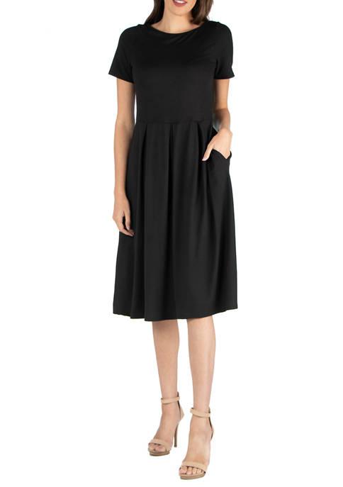 24seven Comfort Apparel Womens Short Sleeves Midi Dress