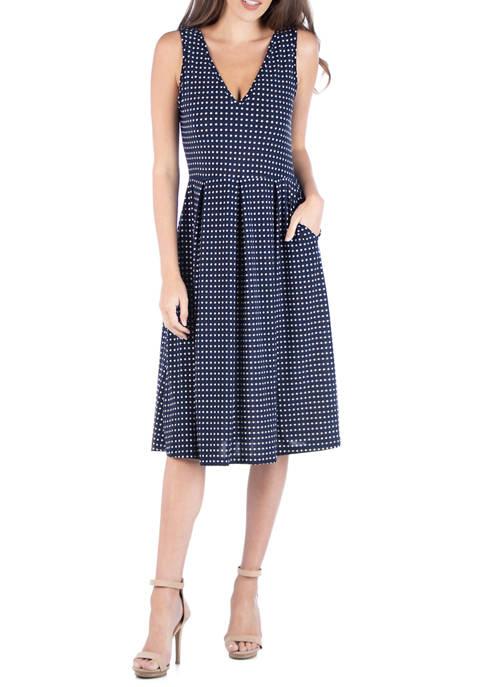 Womens Fit and Flare Midi Sleeveless Dress
