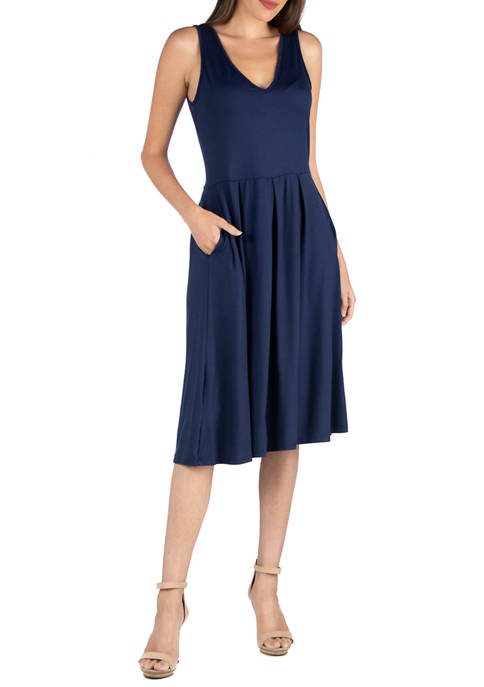 24seven Comfort Apparel Womens Fit and Flare Midi