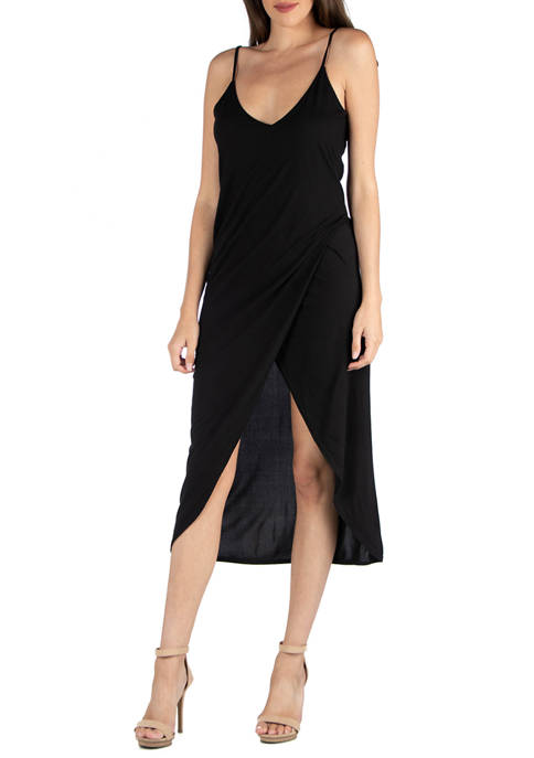 24seven Comfort Apparel Womens Midi Wrap Dress