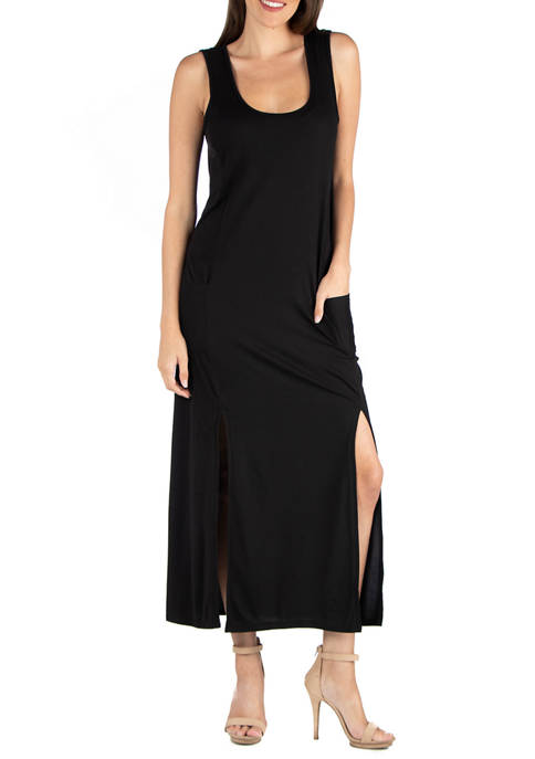 24seven Comfort Apparel Womens Sleeveless Slip Maxi Dress