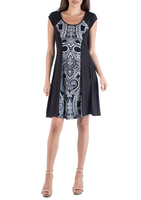 24seven Comfort Apparel Womens Paisley A-Line Dress