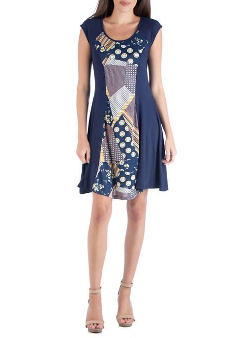 24seven Comfort Apparel Womens Multi Print A-Line Dress