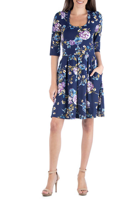 24seven Comfort Apparel Womens Navy Fit and Flare