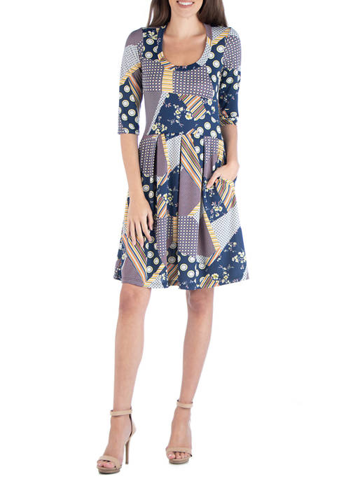 Womens Multicolored Fit and Flare Dress