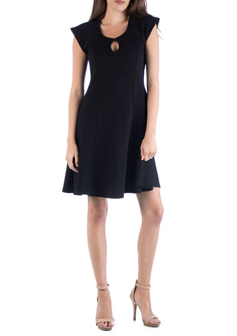 24seven Comfort Apparel Womens Scoop Neck A-Line Dress
