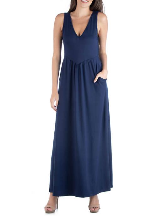 24seven Comfort Apparel Womens V-Neck Maxi Dress