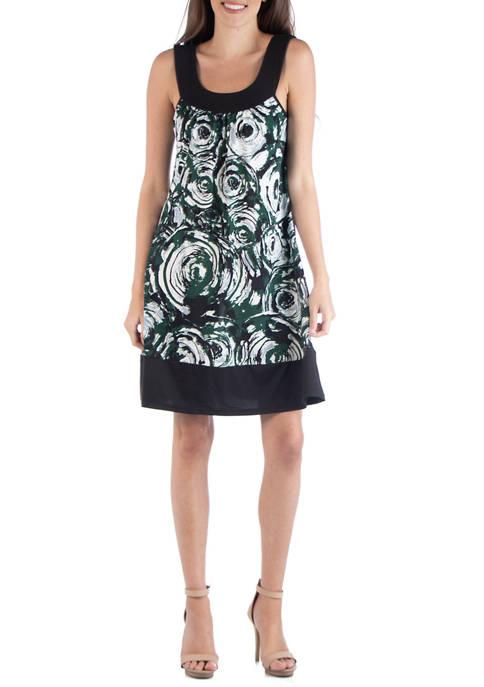 24seven Comfort Apparel Womens Sleeveless Flare Dress
