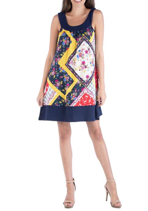 24seven Comfort Apparel Womens Multi Print Sleeveless Dress