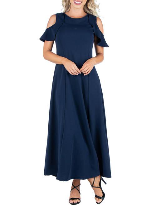 24seven Comfort Apparel Womens A-Line Maxi Dress