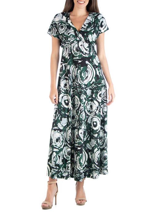24seven Comfort Apparel Womens Empire Waist Maxi Dress