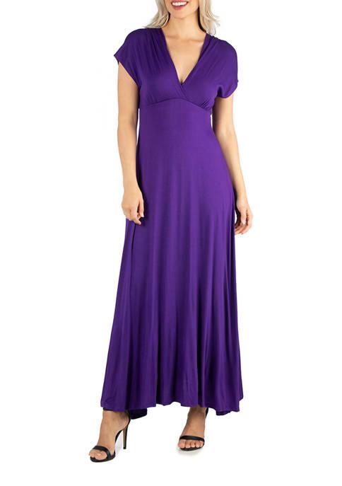 24seven Comfort Apparel Womens Cap Sleeve Maxi Dress