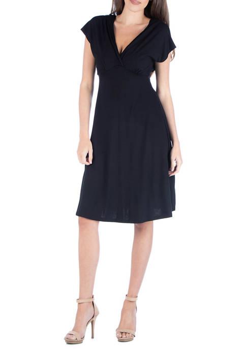 24seven Comfort Apparel Womens V-Neck A Line Dress