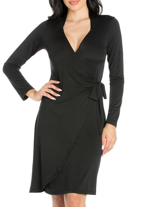 24seven Comfort Apparel Womens Mini Wrap Dress
