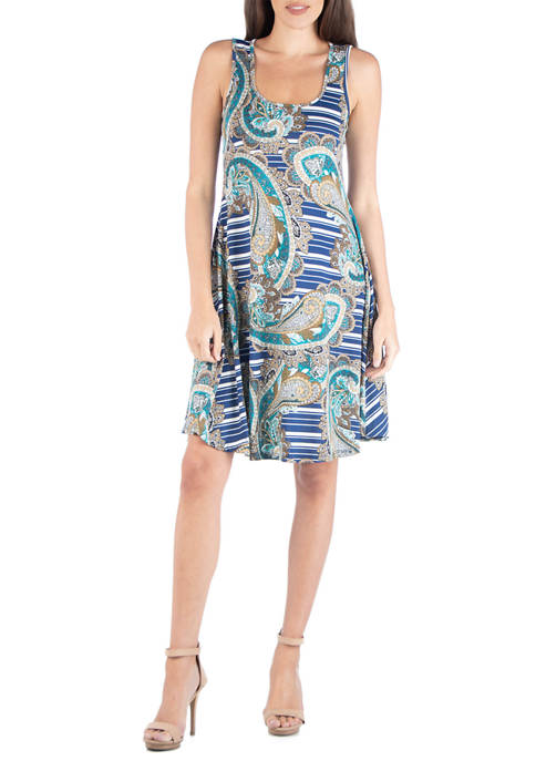 24seven Comfort Apparel Womens Paisley Fit and Flare