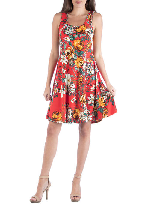 24seven Comfort Apparel Womens Floral Fit and Flare