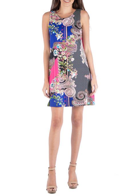 24seven Comfort Apparel Womens Sleeveless Shift Dress