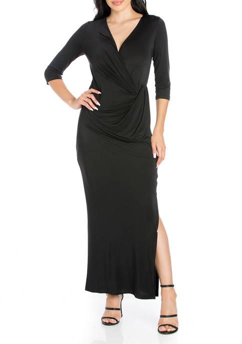 24seven Comfort Apparel Womens Casual 3/4 Sleeve Maxi