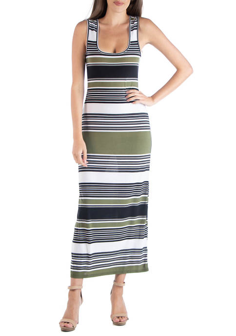 24seven Comfort Apparel Womens Multicolor Scoop Neck Maxi