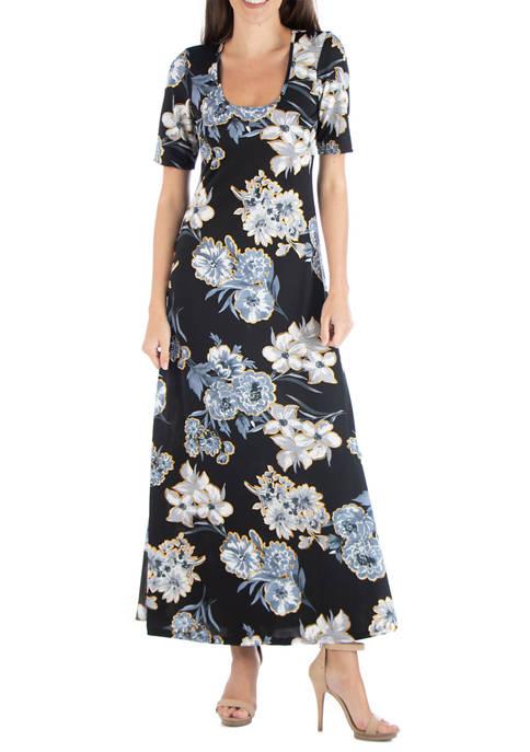 24seven Comfort Apparel Womens Floral Scoop Neck Maxi