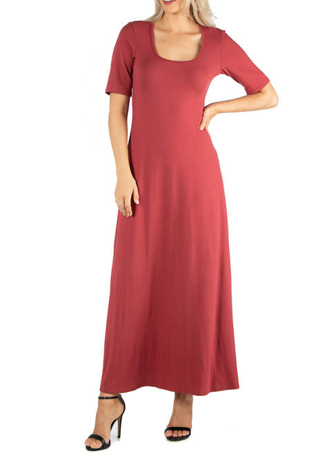 24seven Comfort Apparel Womens Elbow Sleeve A-Line Maxi