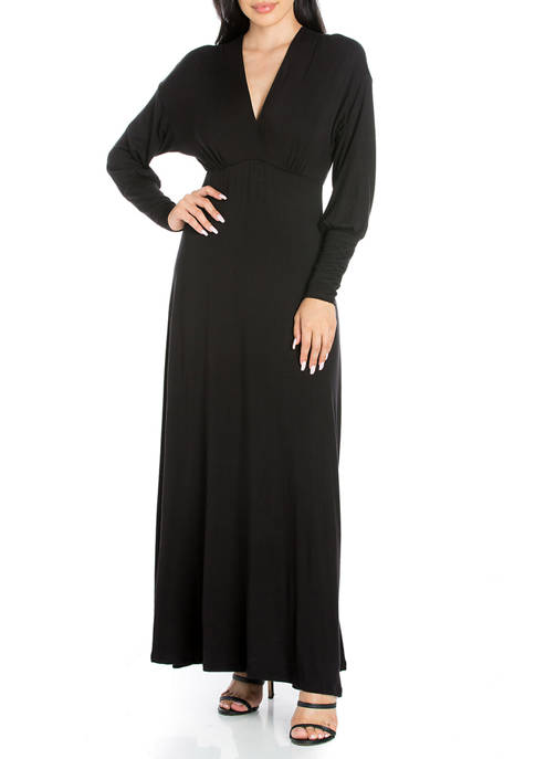 Womens V-Neck Long Sleeve Maxi Dress
