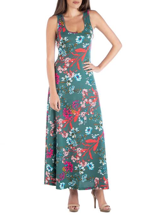 24seven Comfort Apparel Womens Sleeveless A Line Maxi