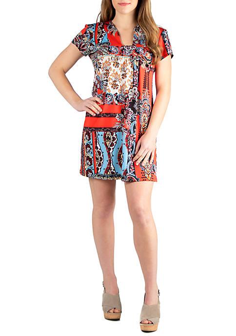 Square Neck Short Sleeve Mini Dress