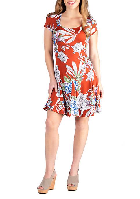 24seven Comfort Apparel Knee Length Short Sleeve Floral
