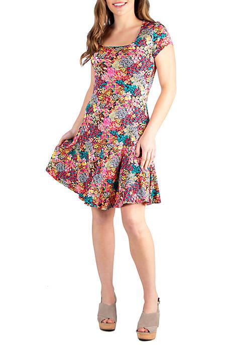 Floral Knee Length Short Sleeve Casual Dress