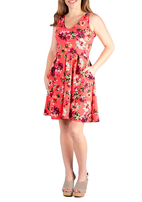Floral Fit and Flare Pocket Dress