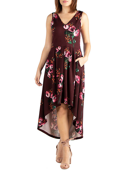 24seven Comfort Apparel Floral High Low Dress with