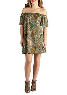 24seven Comfort Apparel Off The Shoulder Summer Dress