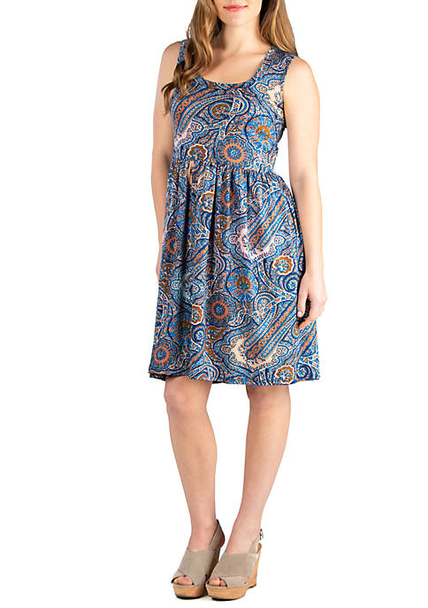 Paisley Sleeveless Fit and Flare Dress