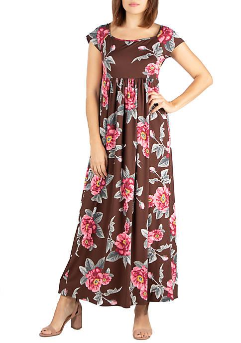24seven Comfort Apparel Floral Cap Sleeve Empire Waist