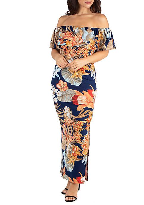 Floral Ruffle Off The Shoulder Maxi Dress