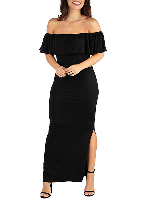 24seven Comfort Apparel Ruffle Off The Shoulder Maxi