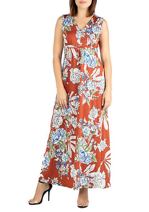 24seven Comfort Apparel Sleeveless Floral Maxi Dress