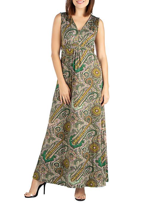 Sleeveless Paisley Maxi Dress
