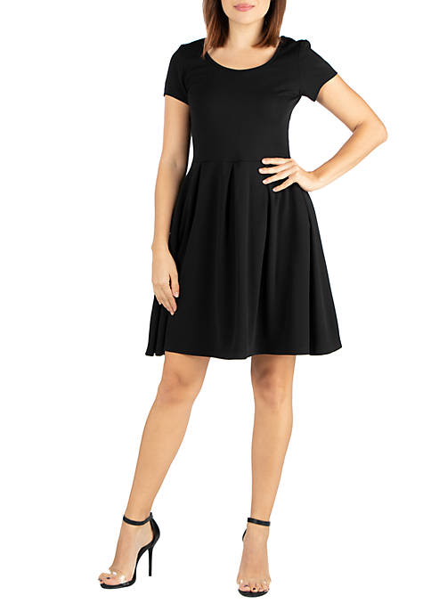 Short Sleeve Knee Length Fit and Flare Pocket Dress