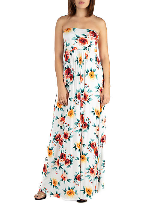 Strapless Floral Empire Waist Maxi Dress