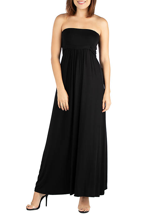 Belted Empire Waist Strapless Maxi Dress