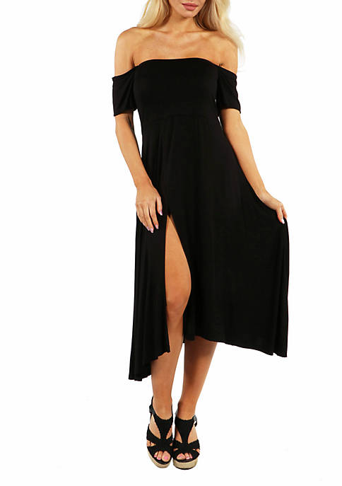 24seven Comfort Apparel Off The Shoulder Dress with