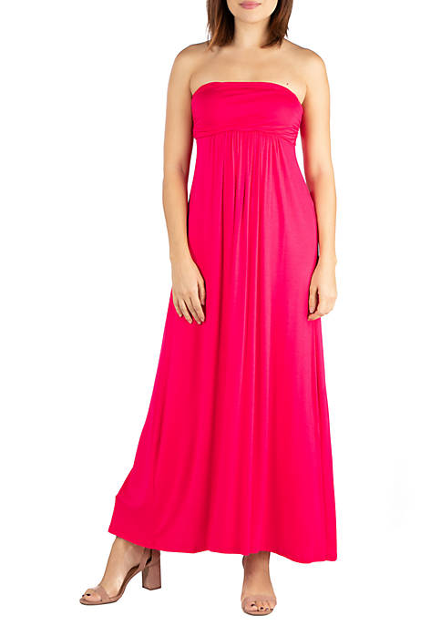 24seven Comfort Apparel Strapless Maxi Dress