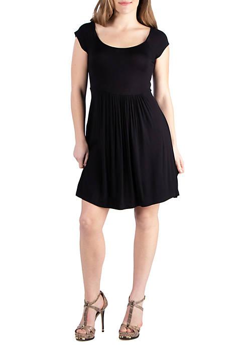 Cap Sleeve Knee Length Babydoll Dress