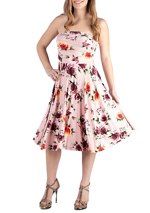 24seven Comfort Apparel Floral Strapless Summer Dress